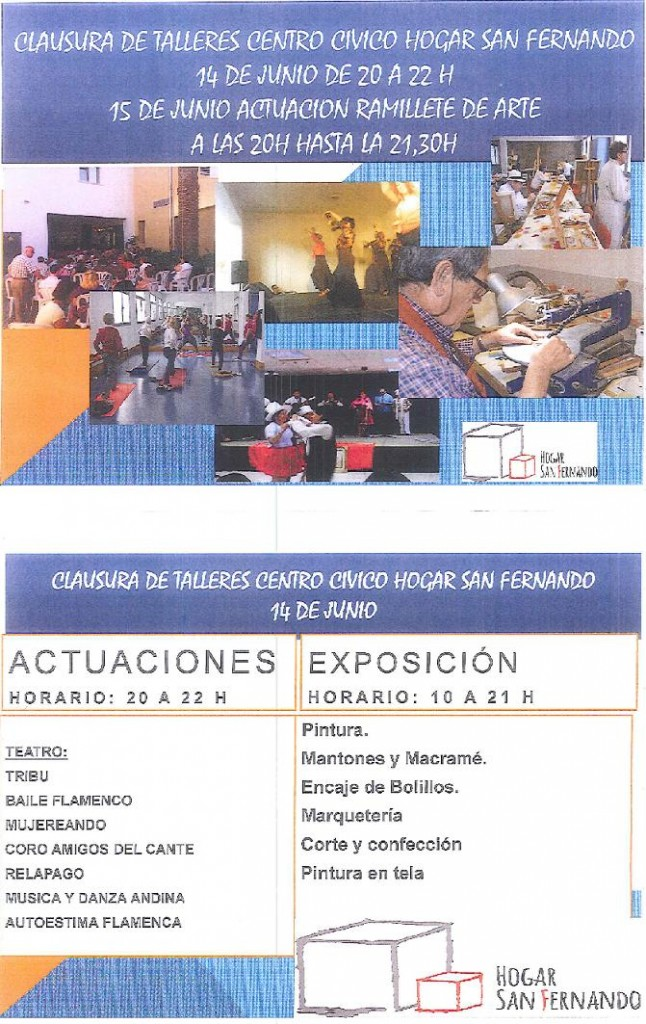 Actuaciones y exposiciones en el Centro Cívico Hogar San Fernando